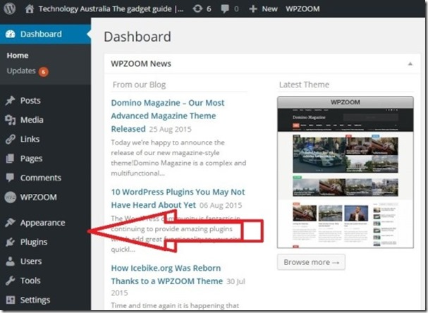 optimised wordpress dashboard changing themes design appearance